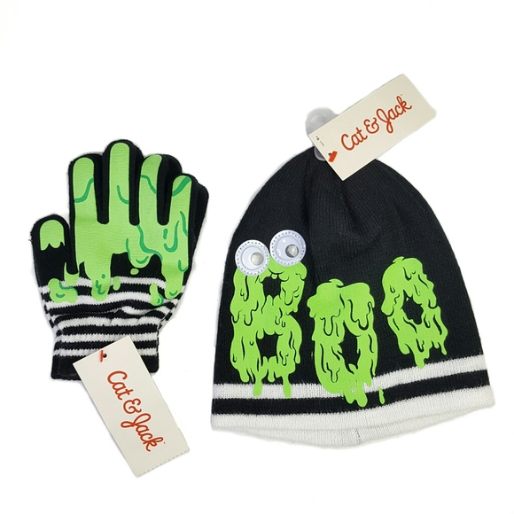 Cat & Jack Other - Cat & Jack Boo Slime Hat and Glove Set